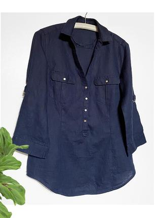 Льняная синяя женская рубашка лен размер s-m