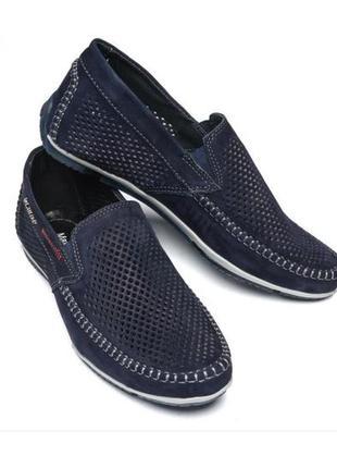 Мокасины, туфли мужские, натуральная кожа и нубук, темно-синие