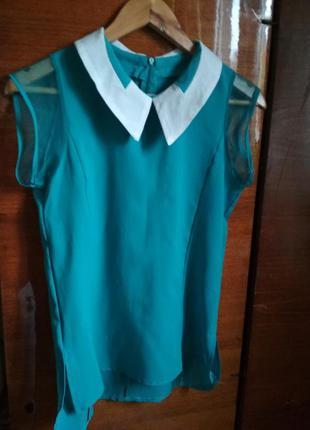 Шифоновая блуза с отложным воротником