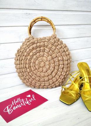 Круглая джутовая сумка с бамбуковыми ручками, сумка вязаная, плетеная