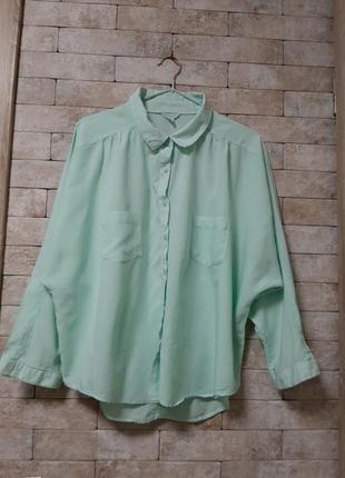 Блуза рубашка  митного  цвета из натуральной ткани