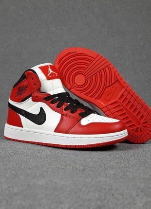 Кроссовки женские nike jordan белые с красным / кросівки жіночі найк джордан білі з червоним кроссы