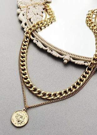 Многослойное ожерелье подвеска, 2 слоя цепочка с монетой золотистая