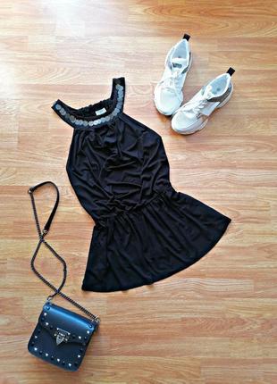 Женская легкая летняя пляжная черная туника - платье - размер 44-46