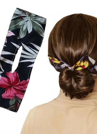 Аксессуар для создания причёсок с бантом тропический принт