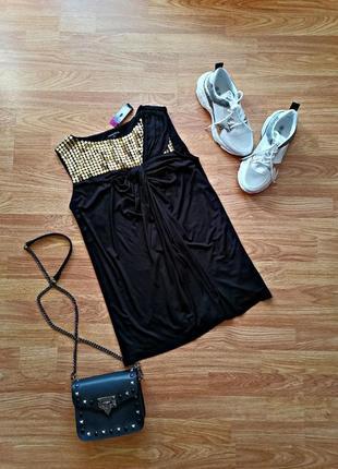 Женская нарядная вечерняя брендовая черная блуза - туника m&s limited - размер 44-46