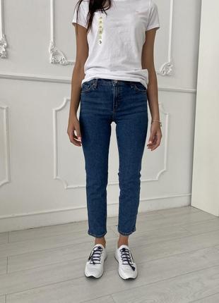 🥭 mango женские синие укороченные джинсы средней посадки