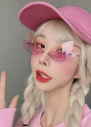 Очки-бабочки розово-персиковые стильные имиджевые необычные для вечеринки