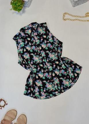 🖤легкая черная блуза без рукава с ярким летним принтом🖤