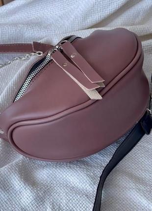 Женская сумка кросс боди бордовая( темная пудра) кожзам бананка