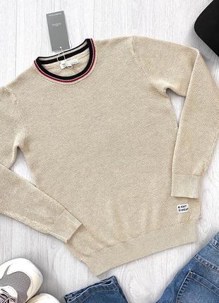 Бежевый подростковый свитер джемпер кофта для мальчика piazza italia италия