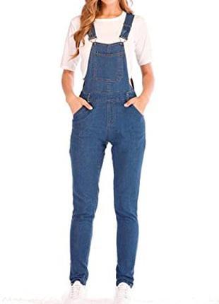 Синий джинсовый комбинезон ромпер штанами стрейч скинни шлейками батал большого размера