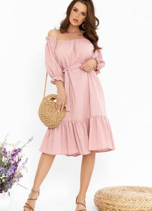Розовое коттоновое платье с приспущенными плечами