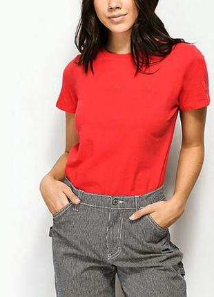 Красная однотонная базовая футболка 100% хлопок размеры