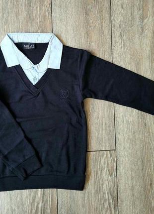 Школьный джемпер рубашка-обманка