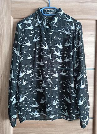 Шикарная блуза с ласточками