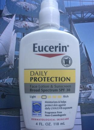 Eucerin солнцезащитный легкий флюид spf 30 распив без запаха daily protection face lotion sunscreen