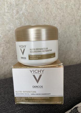 Восстанавливающая маска для сухих и поврежденных волос vichy dercos nutri repairer masque