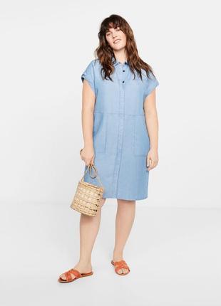 Мягкое платье рубашка в стиле денима mango violeta плюс размер - 48-50р.