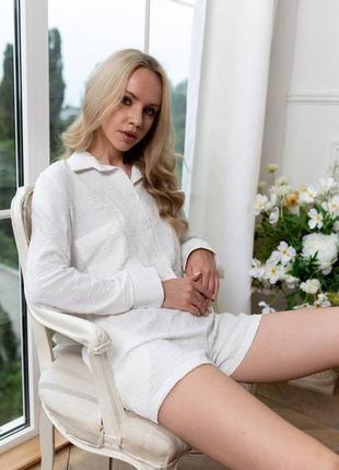 Костюм повседневный костюм рубашка шорты молоко
