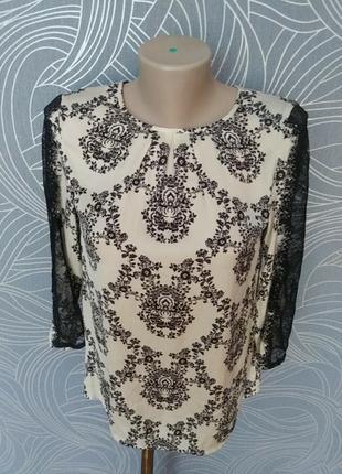 Блуза нарядная. по длине рукава кружево