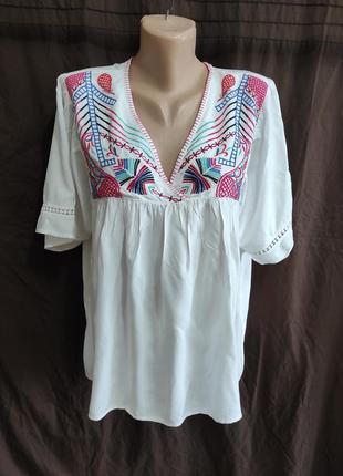 Блуза с вышивкой f&f 100% вискоза