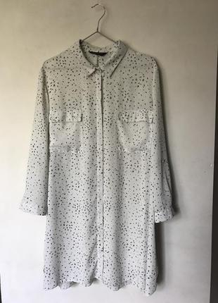 Белое шифоновое платье рубашка в горох оверсайз