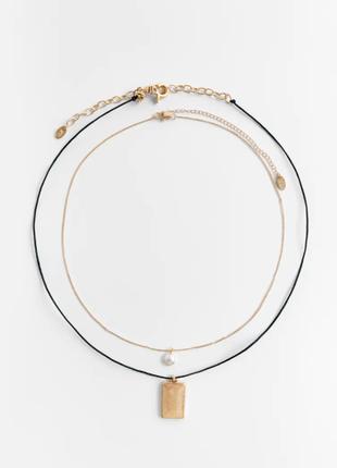 Zara оригинал набор из двух ожерелий натуральный жемчуг