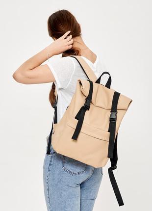 Городской брендовый молодежный бежевый крутой рюкзак roll top для девушки