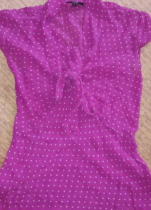 Летняя блузка в горох натуральный матереал