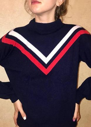 Новый синий свитер гольф кофта mango в полоску объёмные рукава горло стойка шерсть