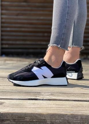 Стильные женские легкие кроссовки new balance 327 черные