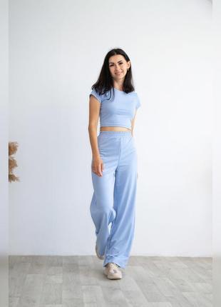 Новинка ✨ летний женский костюм двойка (топ и палаццо), хлопок, трендовый цвет 2021 - голубой