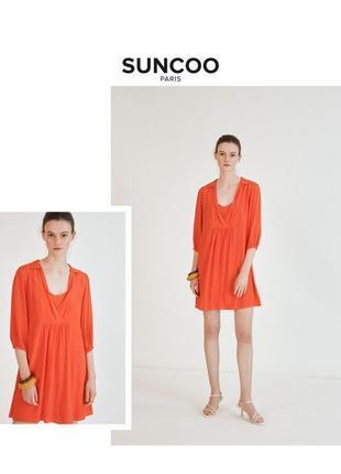 Suncoo paris дизайнерская туника коралловое красное летнее пляжное платье-рубашка  rundholz