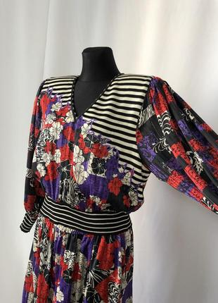 Diana freis винтаж 80-е костюм «цветы полоски горохи»