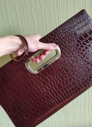 Большой клатч коричневая сумка питон змея крокодил лаковая папка