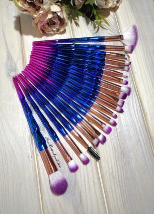 20 шт кисти для макияжа набор blue/pink probeauty
