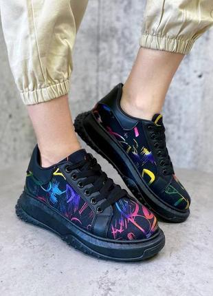 Рр 36-41. эксклюзивные чёрные разноцветные текстильные кроссовки