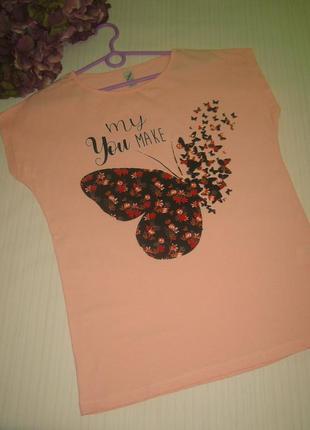 Персиковая футболка, бабочка, есть еще модели