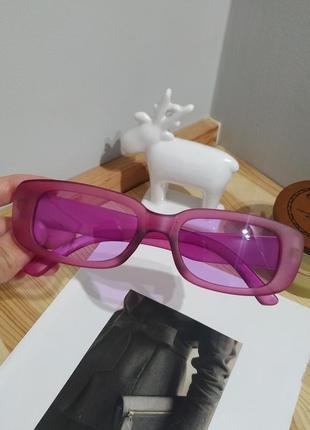 Ультрамоднные розовые очки солнцезащитные узкие ретро матовые окуляри сонцезахисні рожеві