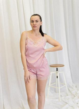 Пудровая пижама с кружевом шелк армани пижамка шорты майка