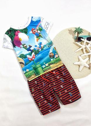 Летний набор супер марио, футболка + шорты на 5-6 лет