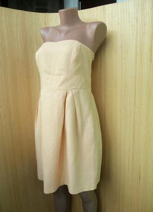 Льняное летнее платье сарафан под грудь бюстье l/xl