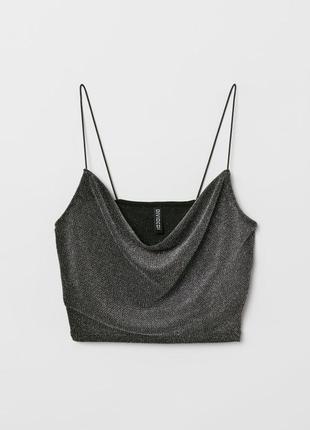Стильный кроп топ нарядный h&m блуза