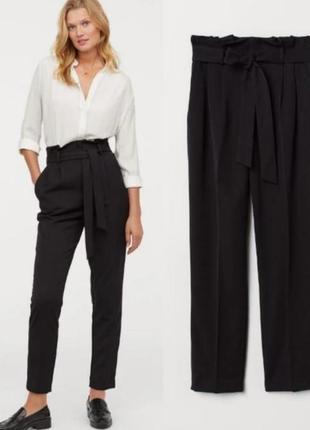 Классные черные брюки h&m високая посадка