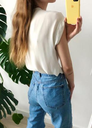 Белая струящаяся блуза бело-кремовая блузка с короткими рукавами new look