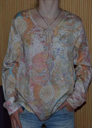 S/36 летняя блуза с принтом, стильная катоновая блуза, блуза-рубаха.