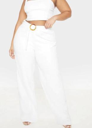 Белые штаны свободного кроя палаццо высокая талия большой размер plus size
