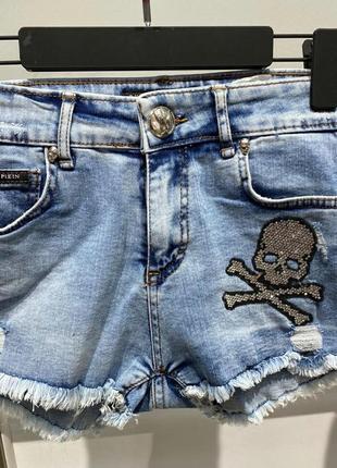 Брендовые короткие джинсовые шорты,с черепом, люкс качество стамбул.