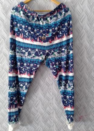 Коттоновые штаны новогодний принт большой размер